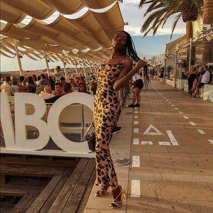 Silk maxi leopard print dress